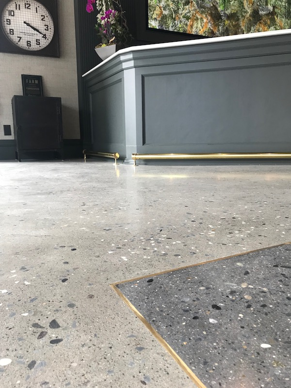terrazzo with brass strip
