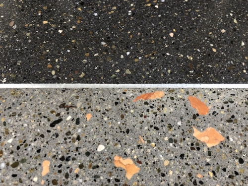 closeup showing black and grey terrazzo