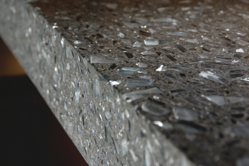 charcoal terrazzo with glass