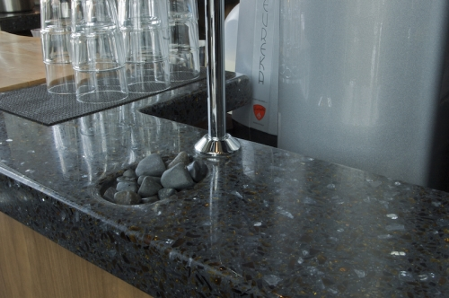 charcoal terrazzo with amber glass