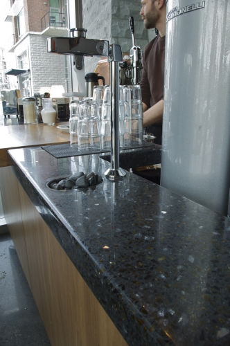 terrazzo counters for busy cafe