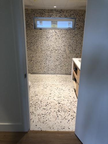 white terrazzo bathroom vancouver, bc