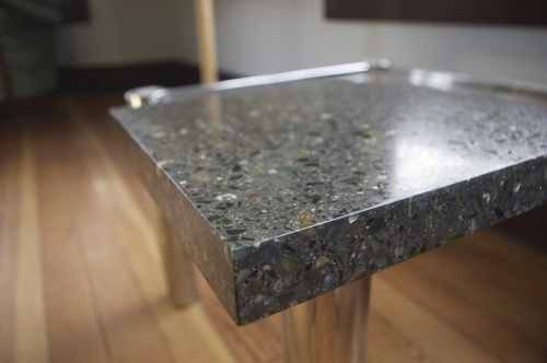 charcoal terrazzo with glass mixed