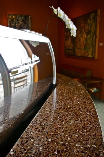 terrazzo counters with flower and expresso