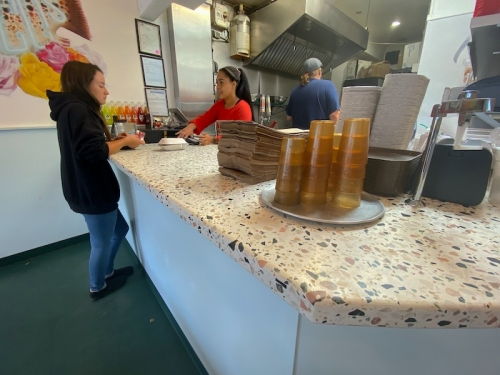 terrazzo counters for busy taco business